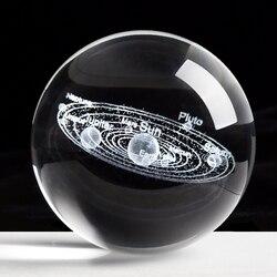 Laser gravado sistema solar bola 3d planetas miniatura modelo esfera bola de cristal decoração para casa acessórios decoracion hogar