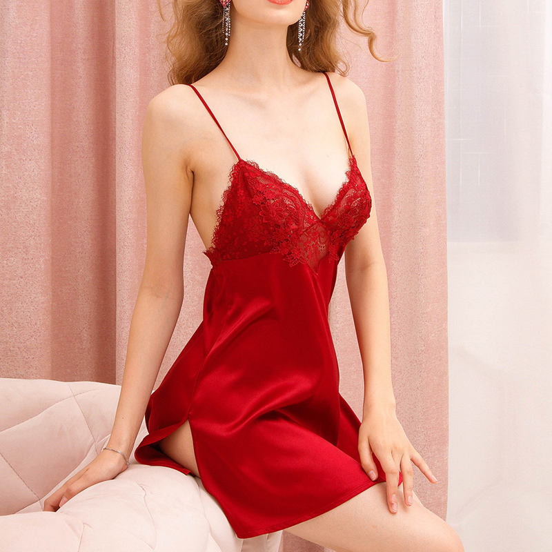 Women Sleep Dress Lace Transparent Floral Cup Low Cut Sleeveless Thin Straps Above Knee Dusty Pink Sexy Lingerie Women Sleepwear