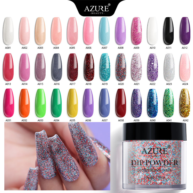 Azure Beauty 59 Colors Shiny Dipping Powder No Need Led Lamp Dry Gradient Color Dip System Powder Nail Art Pigment Holo Powder