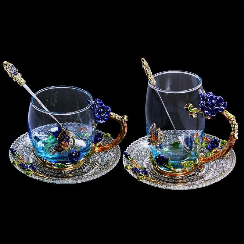 Синяя Роза, эмаль, Хрустальная чашка, цветок, чайное стекло, высококачественное стекло, чашка для воды, кружка в цветочек с ручкой, идеальный подарок для любимой свадьбы Кружки      АлиЭкспресс