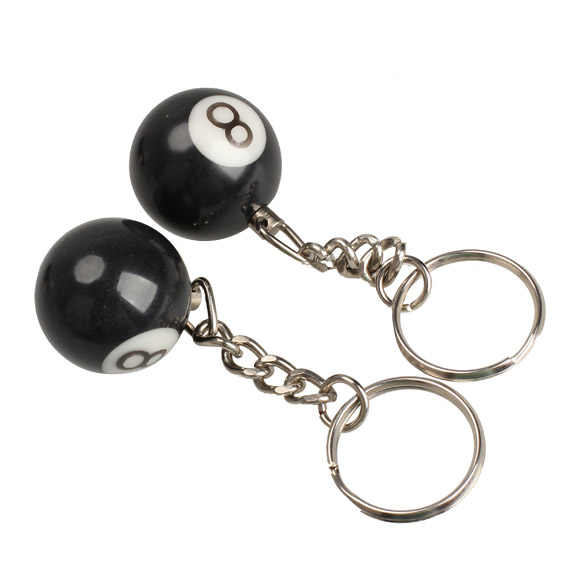 2pcs Biliardo Pool Keychain Snooker Table Sfera Portachiavi Regalo Fortunato NO.8 Chiave Dell'automobile Chiave Decorazione Anello