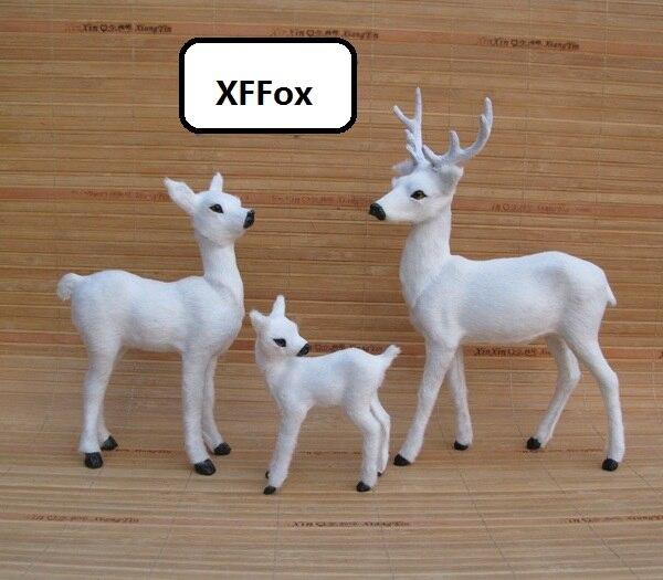 3 peças de um conjunto de modelos de simulação de veado branco plastic & peles xf2280 bonecas veados sika presente de decoração para casa