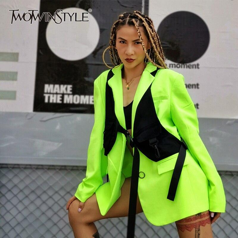 TWOTWINSTYLE Elegant Women's Suit Lapel Collar Long Sleeve Lemon Blazer Black Bandages Vest Two Piece Set Female 2019 Fashion