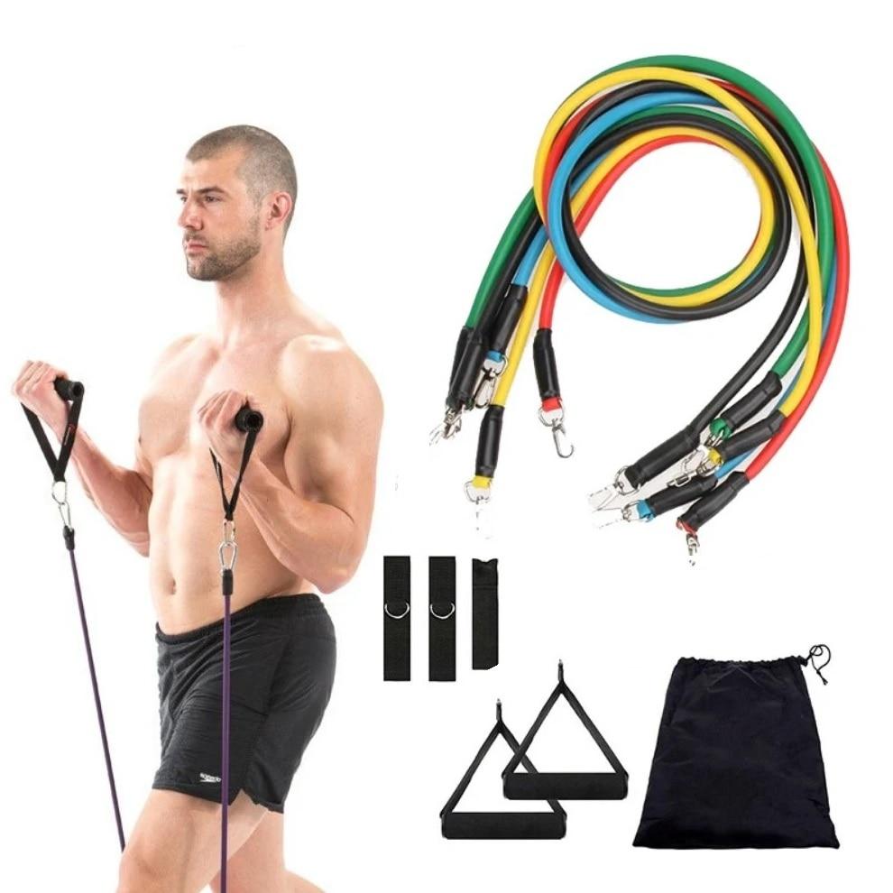 11 adet/takım direnç bantları 100LB egzersiz tam vücut egzersiz kol Abs arka eğitim spor salonu esnek kemer omuz kas spor spor