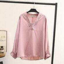 black pink khaki plus size blouse Casual Shirts for Women 2019 new V neck solid Women Loose Blouse women tops KKFY3951