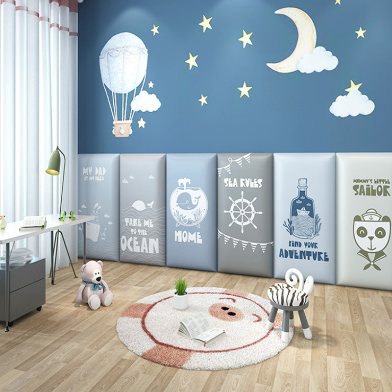 2PCS Padded Headboard Wall Panels Children's Room Anti-Collision Safety Headboard Self-adhesive Bedside Background