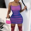 Летнее мини-платье на бретелях-спагетти, соблазнительное женское платье для вечерние НКИ, ночного клуба, Женская Клубная одежда, облегающий...