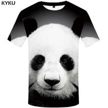 KYKU Panda T-shirt Men Animal Funny T shirts Lovely Shirt Print Black And White Anime Clothes China Tshirts Casual Mens Clothing