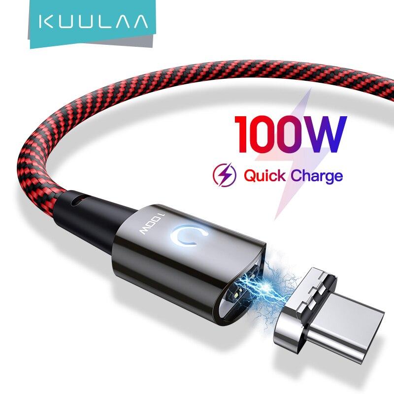 KUULAA PD 100W USB Typ C zu Typ C Kabel Für Xiaomi Mi 10t Pro POCO x3 Magnetische 5A Schnell Lade Kabel Für MacBook Pro Kabel