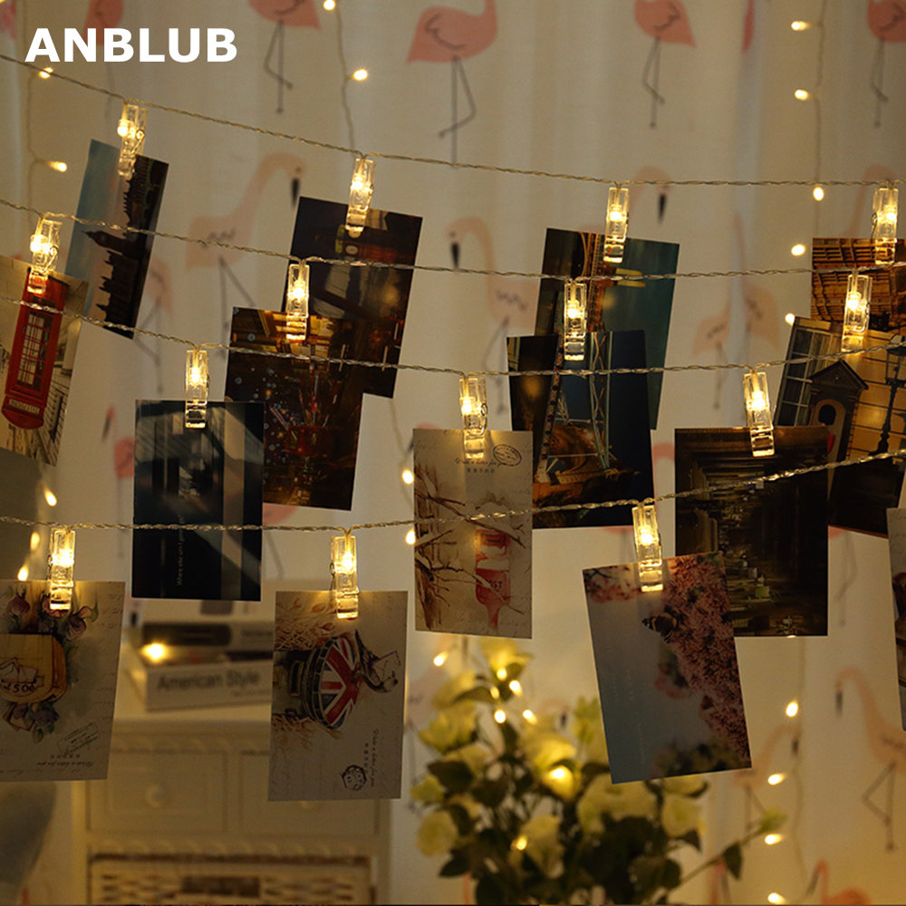 ANBLUB 1M 2M 3M Photo Clip LED String Lights Fairy Garland For Outdoor Christmas New Year Decoration Wedding Battery Operated