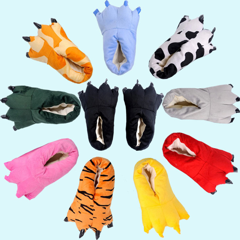 Kigurumi Slippers For Kids Adults Women Men Girl Boy Animal Paw Cartoon Unicorn Dinosaur Pikachu Winter Onesie Pajama Shoes Paw