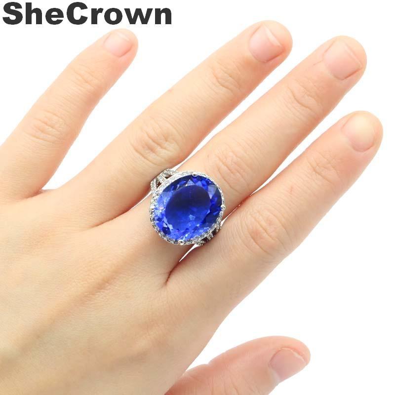 40x20mm Big Gemstone 17.5g Rich Blue Violet Tanzanite CZ Ladies Silver Earrings