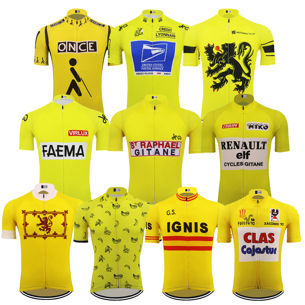 Yellow cycling jersey ropa ciclismo short sleeve bike wear mtb jersey 10 style cycling clothing bicycle coat