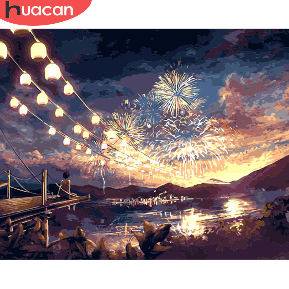 HUACAN DIY Oil Painting By Numbers Fireworks Landscape Kits Canvas HandPainted Gift Pictures Night Scenery Home Decor