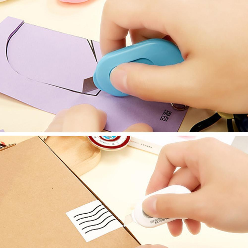 3PCS Lovely Solid Color Mini Portable Utility Knife Office Paper Stationery Cutting Paper Razor Blade N0Q6