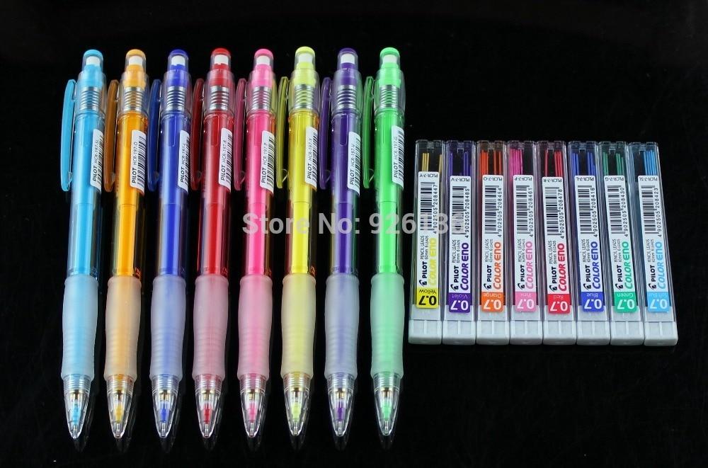 Pilot Color Eno 0.7mm Automatic Mechanical Pencil 8 Color set Plus 8 Tubes Leads