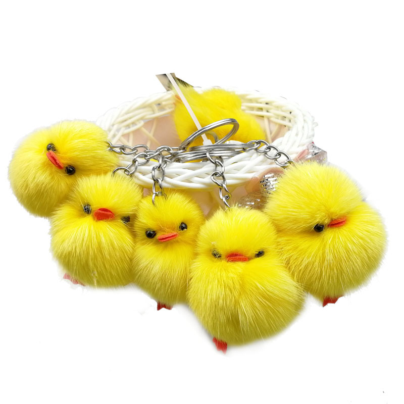 Dayoff Lovely Animal Duck Keychain Keyring For Women Girl Jewelry Cute Hairball Yellow Chick Key Holder Keyring Gift K90