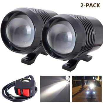 2 Pieces Universal Auto LED Spot Light CREE U2 Motorcycle Headlight for Moto ATV Truck,Car Bicycle Boat with OFF/ON Swith