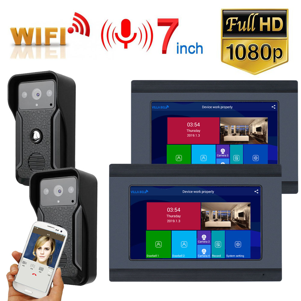 1080P 7inch Monitor Wired WIFI Video Door Phone Doorbell Intercom Entry System Support Night Vision Phone APP Remote Intercom