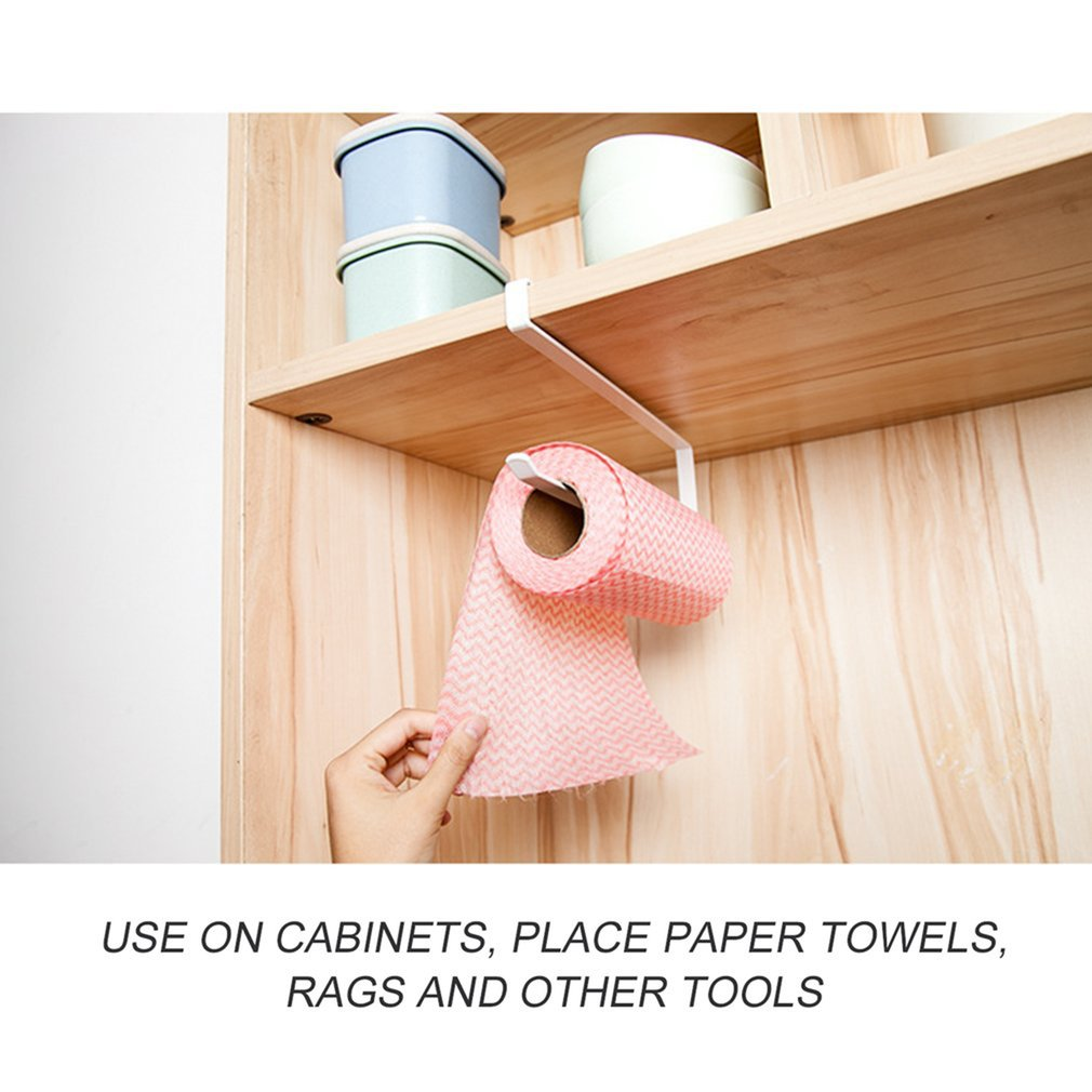 Practical Kitchen Toilet Roll Paper Towel Rack Holder Creative No Punch Cabinet Napkins Hanger Cling Film Storage Wardrobe Door