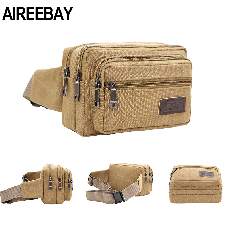 AIREEBAY 4-Zipper Pocket Men Waist Bag Casual Durable Waist Pack Belt Canvas Multifunction Women Traval Bag Outdoor Wear