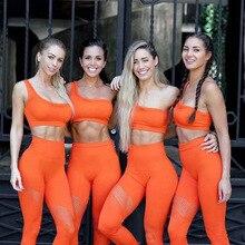 Women Yoga Set Seemless Workout Clothes Sportswear Hollow Out Yoga Leggings Padded One Shoulder Sports Bra 2Pcs Gym Workout Set утюг tefal fv 9776