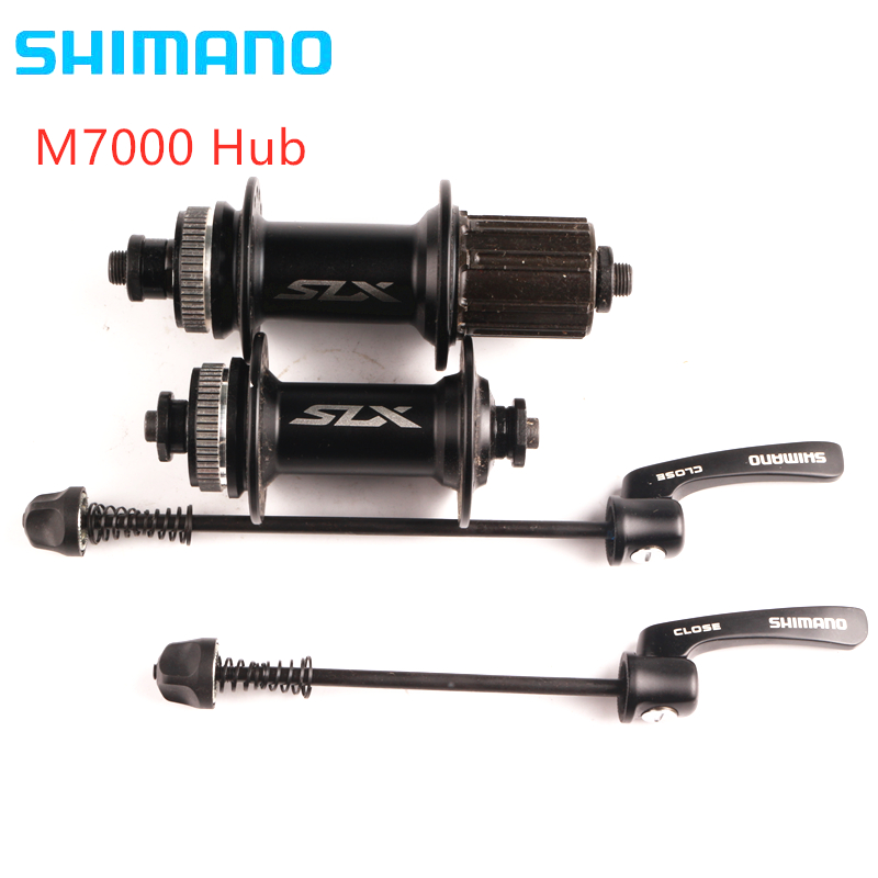 <font><b>SHIMANO</b></font> SLX M7000 Hub & Quick Release 8/9/10/<font><b>11</b></font> Speed Front Rear Disc Brake Skewer 32H Black Center Lock Hub image