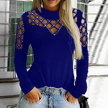 40#Rhinestone Diamonds Blouses Womens Hollow Out Casual Tops Solid Elegant Long Sleeve Cut Blouse Spring Office Lady Shirts 1