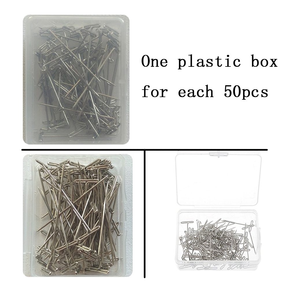 Steel Wig T Pins Nickel Plated 5 Sizes With Box For Art Fabric Office 5000pcs lot in Hook Needles from Hair Extensions Wigs
