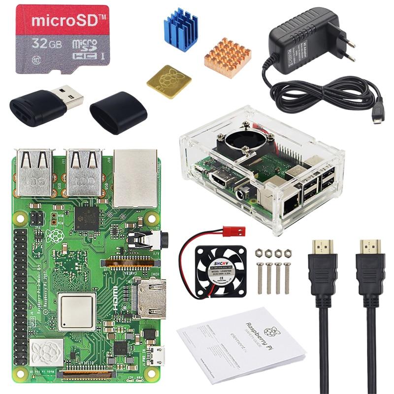 Original raspberry pi 3 modelo b + plus reino unido feito kit + 3.5 polegada tela sensível ao toque + caso alimentação 32 gb sd hdmi dissipador de calor cabo usb