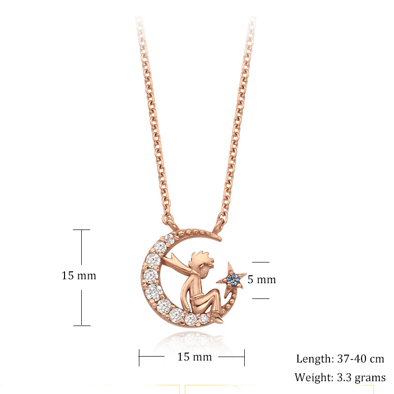 Image 4 - Herwish The Little Prince Pendant Necklace 925 Sterling Silver Bling Ziconia Figure Rose Link Chain Necklaces Women Jewelry-in Pendant Necklaces from Jewelry & Accessories