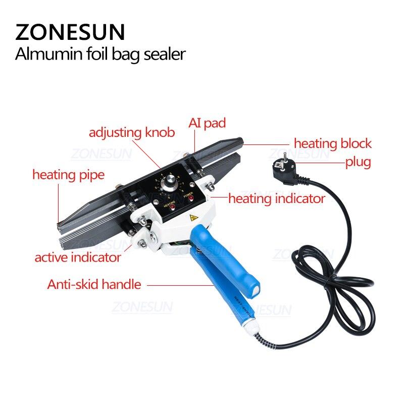 Image 2 - ZONESUN sealing machine Constant Heat Handheld Sealer Sealing Machine Mylar Aluminum sealer Foil Bag sealer-in Vacuum Food Sealers from Home Appliances