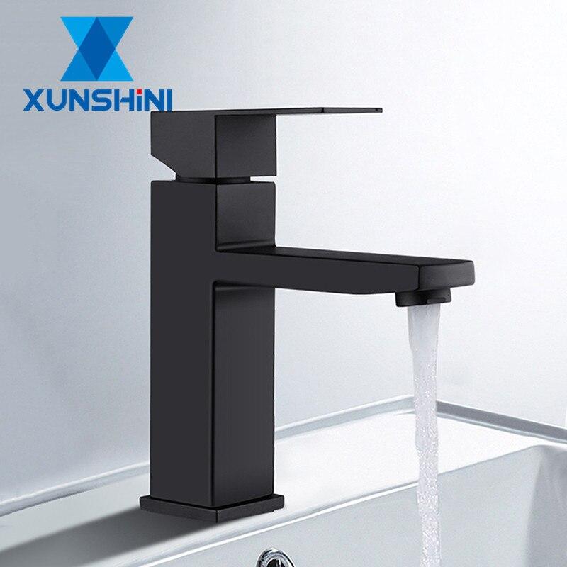 XUNSHINI Black Square Bathroom Sink Faucet Single Handle Basin Faucet Wash Tap Bathroom Toilet Deck Mounted Innrech Market.com