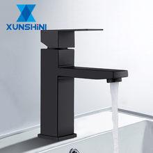 XUNSHINI Schwarz Platz Bad Waschbecken Wasserhahn Einzigen Handgriff Waschbecken Wasserhahn Waschen Tippen Badezimmer Wc Deck Montiert Becken Wasserhahn