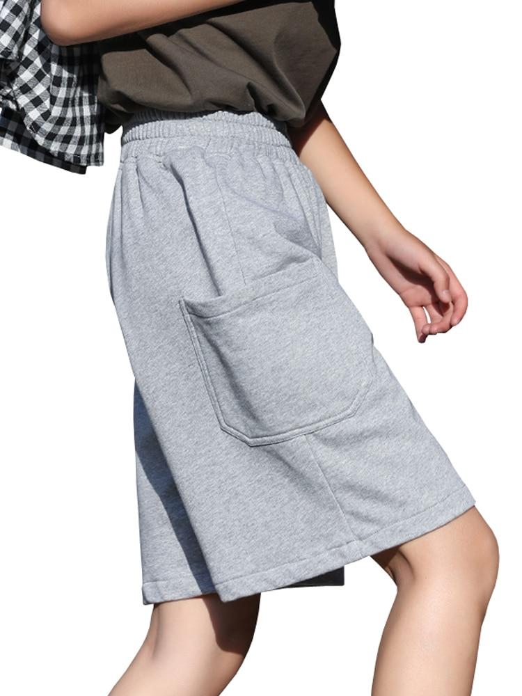 Sports Shorts Women's Elastic Waist Loose Solid Womens Knee Length Shorts Cotton Women Casual Grey Shorts Long Xxl Korean HH50DK