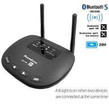 Nsendato Bluetooth 5.0 muzyka nadajnik dźwięku wsparcie odbiornika aptX/HD/LL przełącznik 3.5mm 80m/262ft daleki zasięg Adapter bezprzewodowy TV
