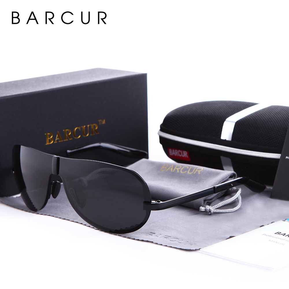 BARCUR Polarized Black Sunglasses Male Rimless Yellow Glasses Men Driving Night Vision Eyewear Accessories Oculos