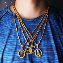 Hip Hop Fashion Jewelry US Dollar Money Necklaces Luxury Gold Color Long Chain Men Women Accessories Small Pendant Necklace(China)