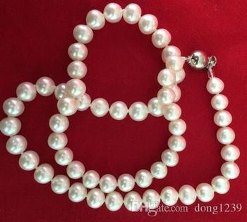 Classic 9-10mm South Sea round white pearl necklace 18inch925s
