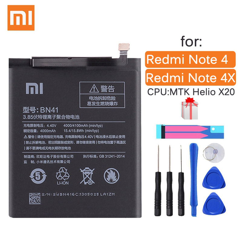Xiao <font><b>Mi</b></font> BN41 Original Phone <font><b>Battery</b></font> For Xiaomi Redmi Note 4 4X 3 Pro 3S 3X 4X <font><b>Mi</b></font> <font><b>5</b></font> BN43 BM22 BM46 BM47 Replacement <font><b>batteries</b></font> image