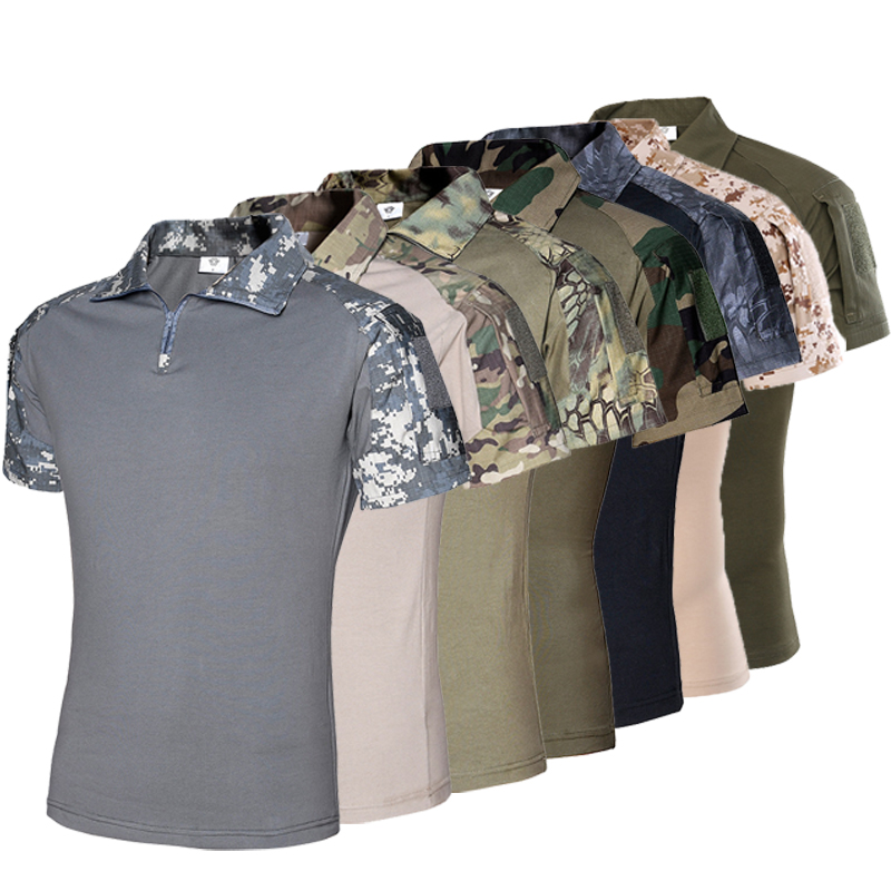 Men's Outdoor Tactical Military Camouflage T-shirt Breathable US Army Combat T Shirt Quick Dry Camo Hunting Camping Hiking Tees