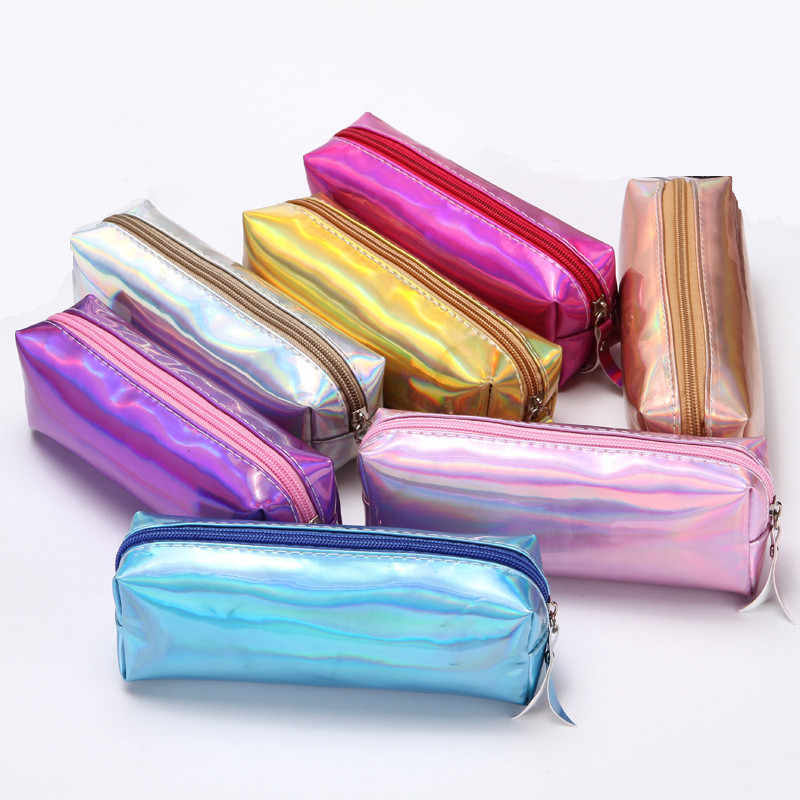 Iridescent Laser Pencil Case Quality PU School Supplies Stationery Gift Pencilcase School Cute Pencil Box Creative School Tools