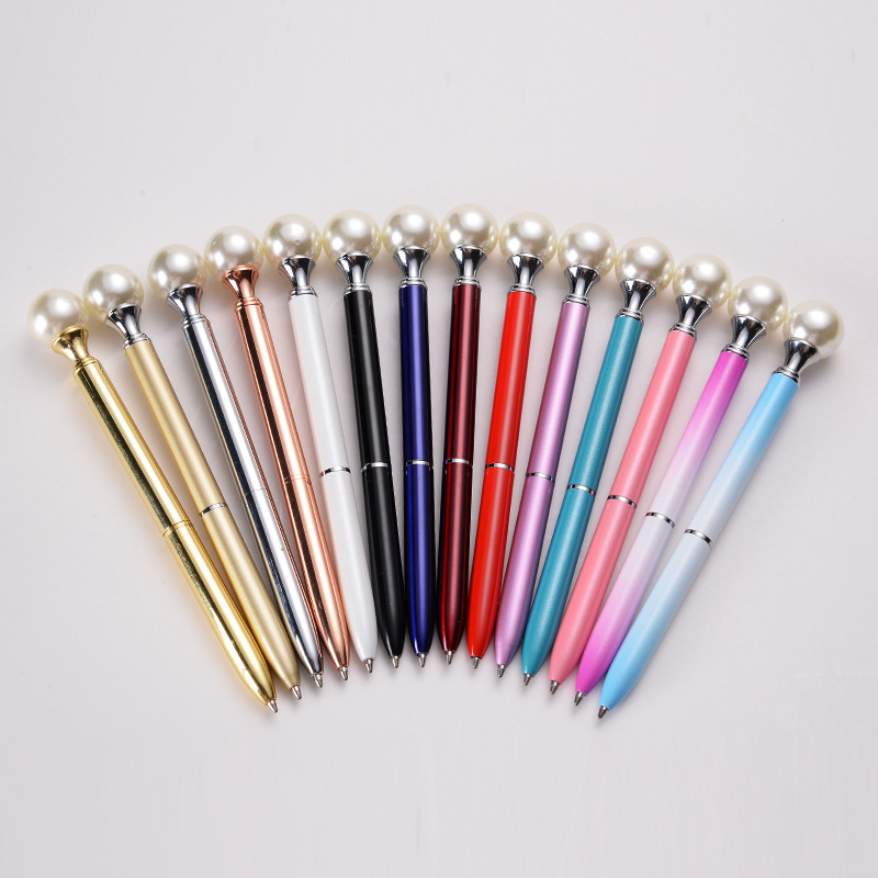 9 Colors Big Pearl Metal Ballpoint Pens 3