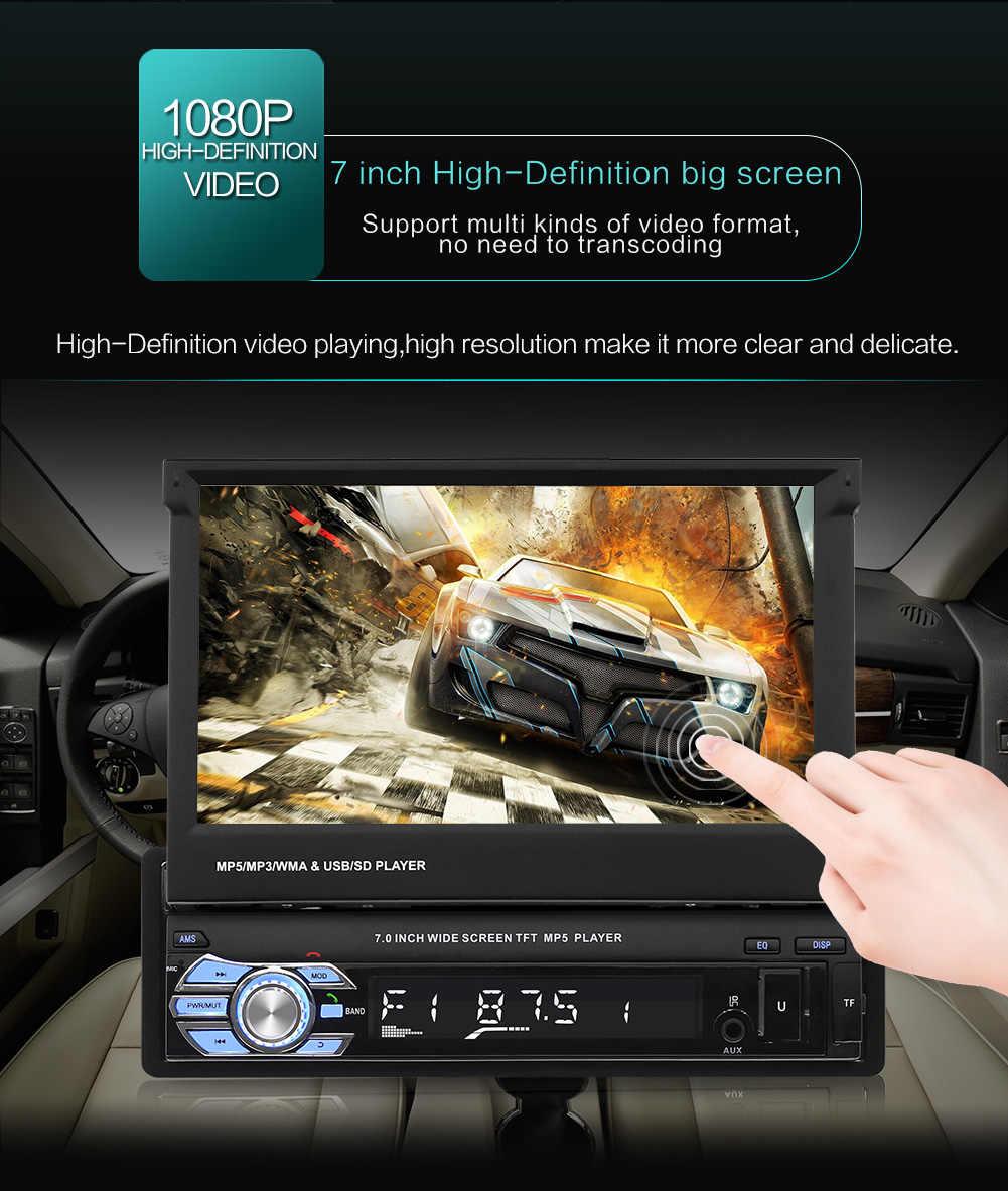 """1Din カーオーディオのデジタル 7 """"格納式タッチスクリーンステレオ MP5 プレーヤーリアビューカメラの Bluetooth ハンズフリー Autoradio"""