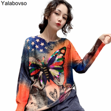 New Korean Fashion Gilt Butterly Printed Sweater Autumn O Neck Loose And Thin Foreign Style Casual Pullovers Female Harajuku