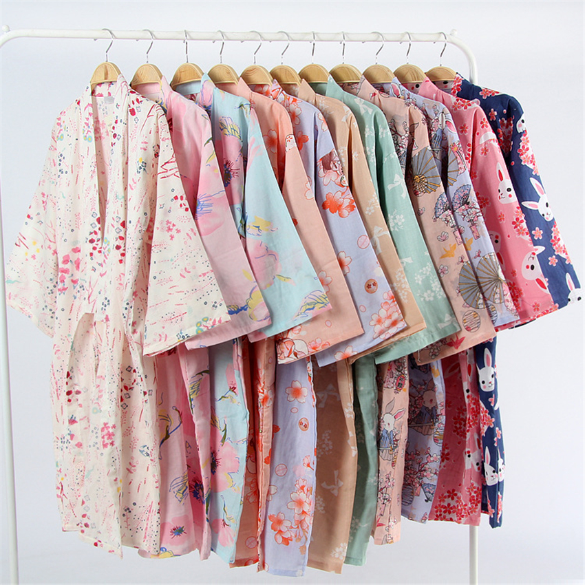 17Colors Cotton Woman Kimono Pajamas Yukata Japanese Style Floral Loose Long Sleepwear NightGown Cardigan Leisure Bathrobe