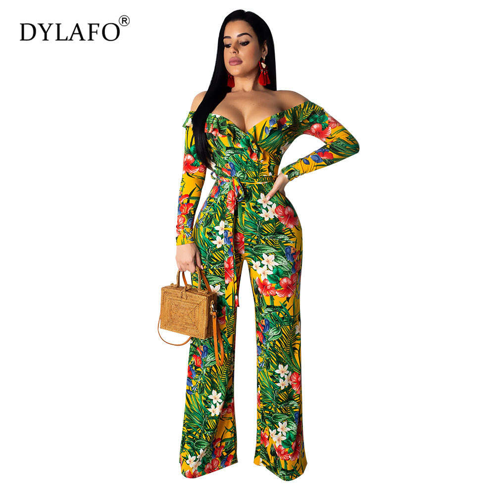 2019 Fall Winter Off Shoulder Skinny Women Jumpsuit Romper Skinny Print Sexy Jumpsuit Two-piece Suit Summer Jumpsuit Overalls