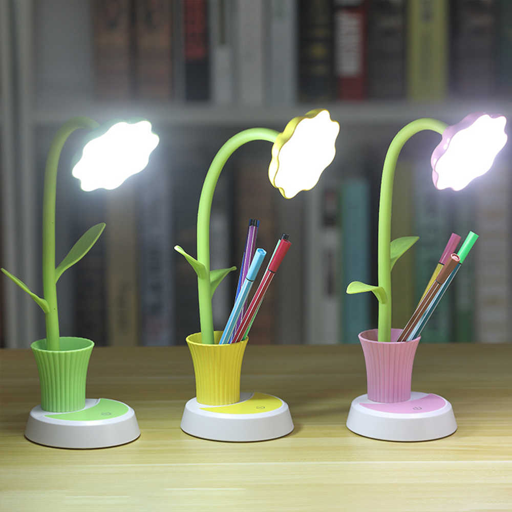 2 In 1 Rechargeable USB LED Table Lamp Solar Flower Desk Lamp With Pen Holder For Children Reading Learning Eye Protection Lamp