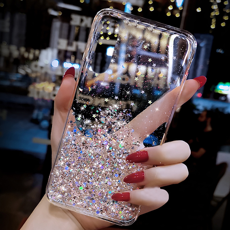 Bling Star Sequins phone case For Xiaomi Redmi CC9 CC9E A3 A2 Note 9S 8 6 7 8A 8T K20 mi 9 8 se 9T 10 Pro Lite Glitter Cover image