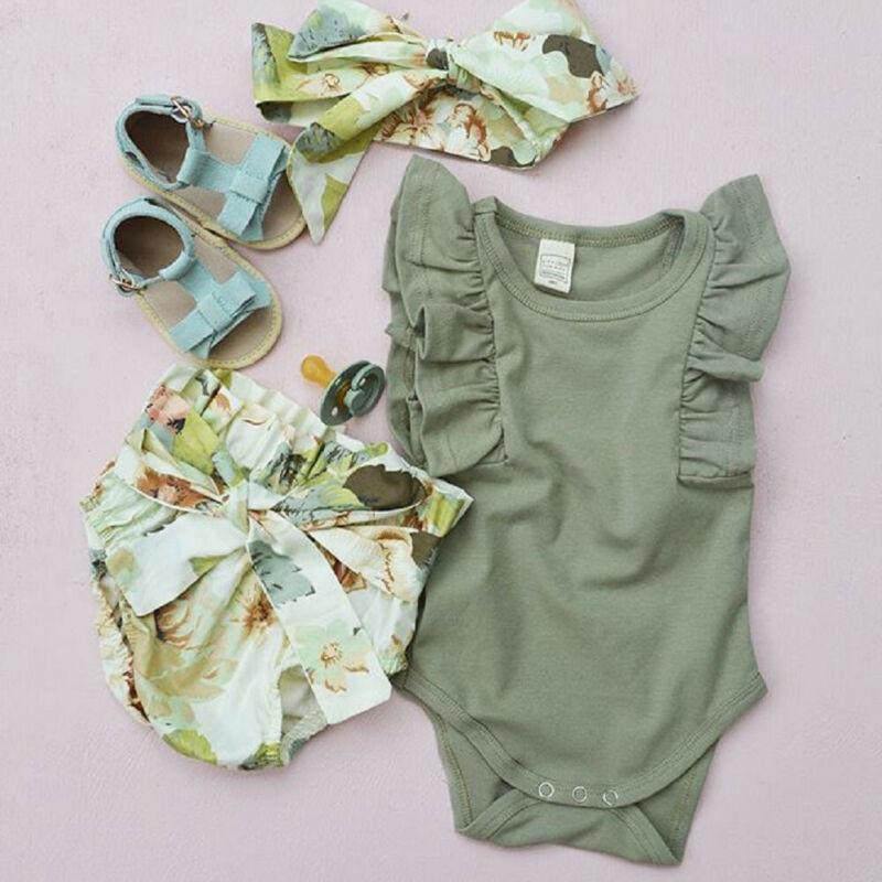 Newborn Baby Toddler Girl Romper Ruffle Shorts Outfits Headband Summer Tracksuit